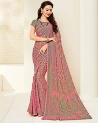 Pink & Green Color Brasso Casual Party Sarees : Niara Collection  YF-49386