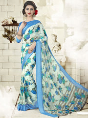 Aqua Blue & Green Color Georgette Office Wear Sarees : Geetika Collection  YF-49724