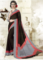Dark Brown Color Georgette Office Wear Sarees : Geetika Collection  YF-49725