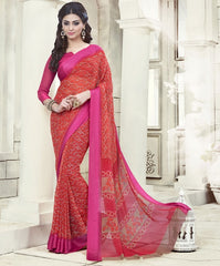 Red & Pink Color Georgette Office Wear Sarees : Geetika Collection  YF-49726