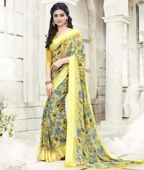 Yellow & Grey Color Georgette Office Wear Sarees : Geetika Collection  YF-49727