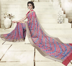 Pink & Blue Color Georgette Office Wear Sarees : Geetika Collection  YF-49728