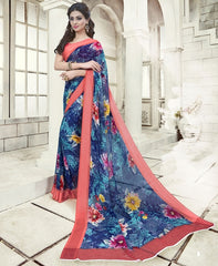Blue Color Georgette Office Wear Sarees : Geetika Collection  YF-49731