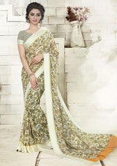 Cream & Green Color Georgette Office Wear Sarees : Geetika Collection  YF-49732