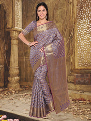 Purple & Golden Color Art Silk Casual Party Sarees : Lavika Collection  YF-56343