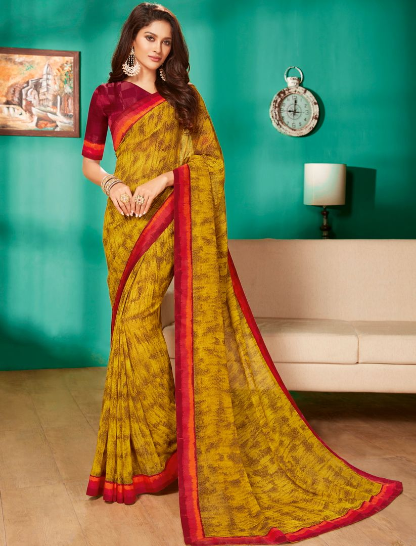 Mustard Yellow Color Georgette Pretty Casual Sarees NYF-4993