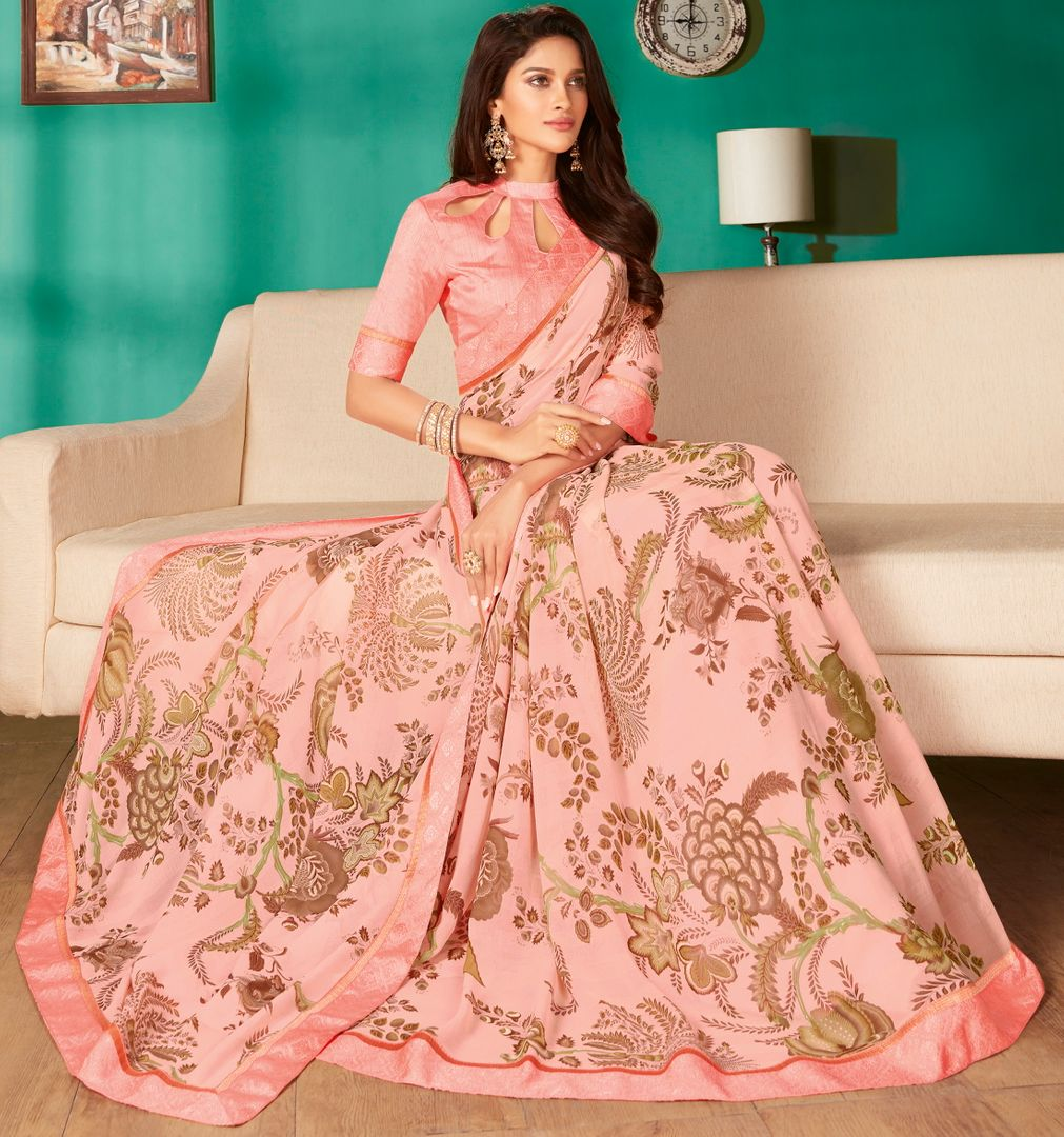 Baby Pink Color Georgette Pretty Casual Sarees NYF-4994