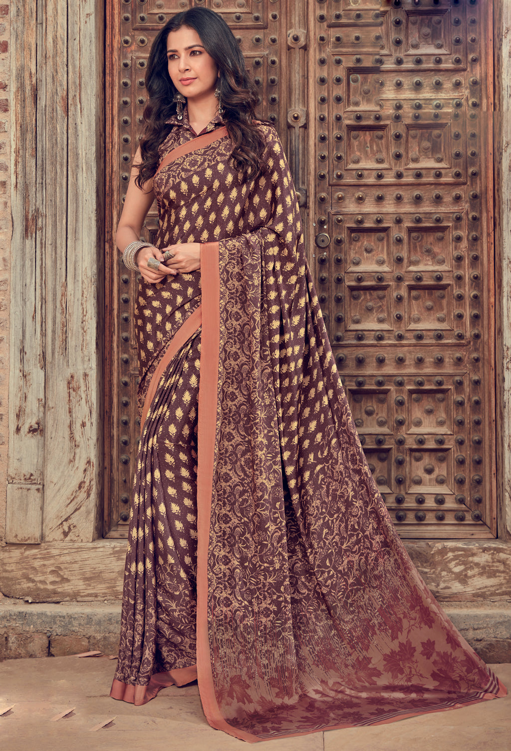 Brown Color Crepe Silk Kitty Party Sarees NYF-8478