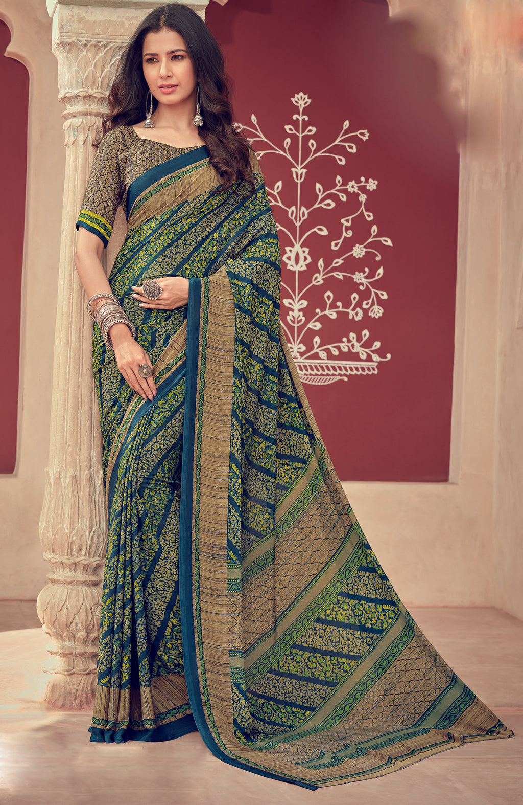 Green & Blue Color Crepe Silk Kitty Party Sarees NYF-8481