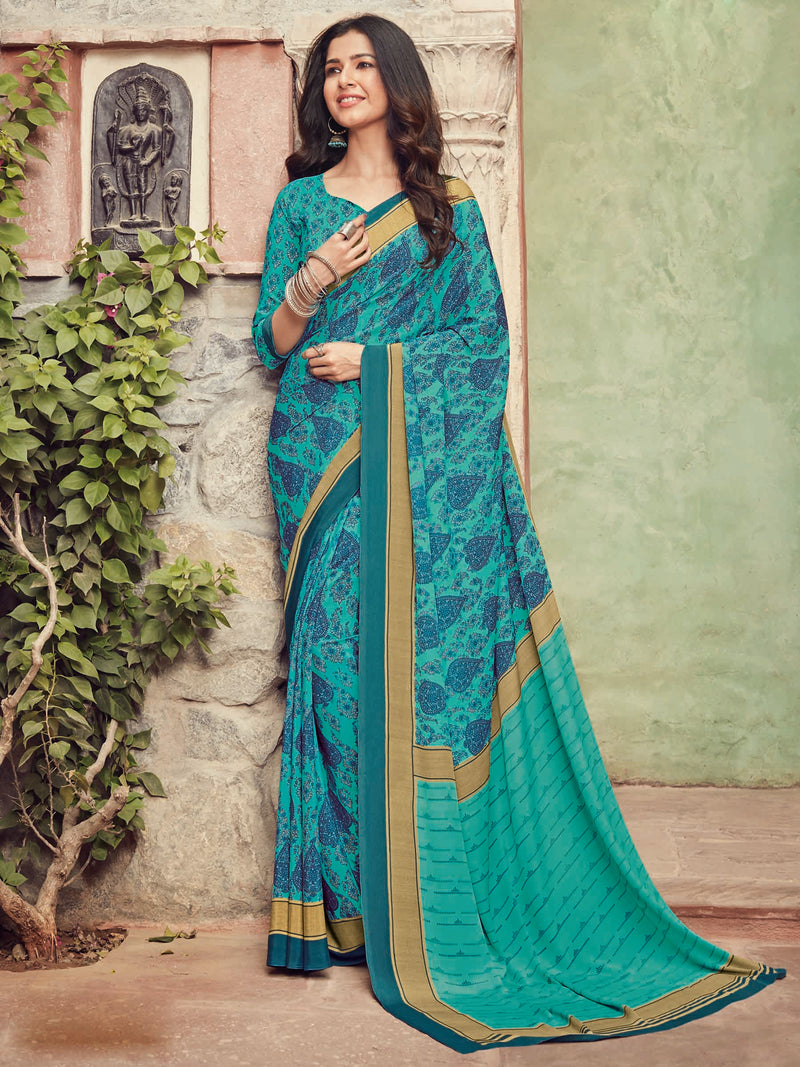 Firozi Color Crepe Silk Kitty Party Sarees NYF-8486