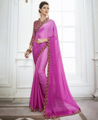 Light & Dark Pink Color Wrinkle Chiffon Kitty Party Sarees : Swakshika Collection  YF-49706