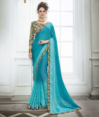 Firozi Color Wrinkle Chiffon Kitty Party Sarees : Swakshika Collection  YF-49708