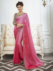 Pink Color Wrinkle Chiffon Kitty Party Sarees : Swakshika Collection  YF-49709