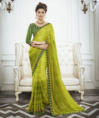 Parrot Green Color Wrinkle Chiffon Kitty Party Sarees : Swakshika Collection  YF-49710