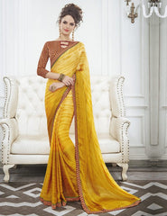 Yellow Color Wrinkle Chiffon Kitty Party Sarees : Swakshika Collection  YF-49712