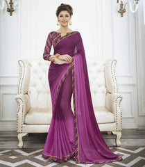 Pink Color Wrinkle Chiffon Kitty Party Sarees : Swakshika Collection  YF-49713