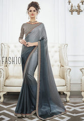 Grey Color Wrinkle Chiffon Kitty Party Sarees : Swakshika Collection  YF-49714