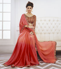Peach & Red Color Wrinkle Chiffon Kitty Party Sarees : Swakshika Collection  YF-49715