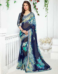 Blue Color Georgette Kitty Party Sarees : Ranjani Collection  YF-50809