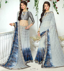 Ash Grey & Sky Blue Color Georgette Kitty Party Sarees : Ranjani Collection  YF-50813