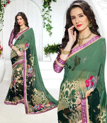 Light & Dark Green Color Georgette Kitty Party Sarees : Ranjani Collection  YF-50814