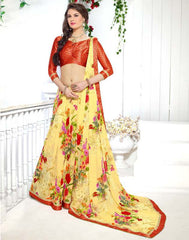 Yellow Color Georgette Kitty Party Sarees : Ranjani Collection  YF-50816