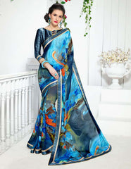 Shades Of Blue Color Georgette Kitty Party Sarees : Ranjani Collection  YF-50817