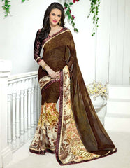 Brown Color Georgette Kitty Party Sarees : Ranjani Collection  YF-50818