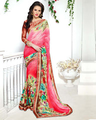 Pink Color Georgette Kitty Party Sarees : Ranjani Collection  YF-50819
