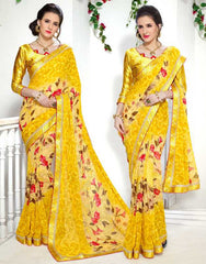 Yellow Color Georgette Kitty Party Sarees : Ranjani Collection  YF-50821