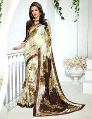 Cream & Brown Color Georgette Kitty Party Sarees : Ranjani Collection  YF-50823