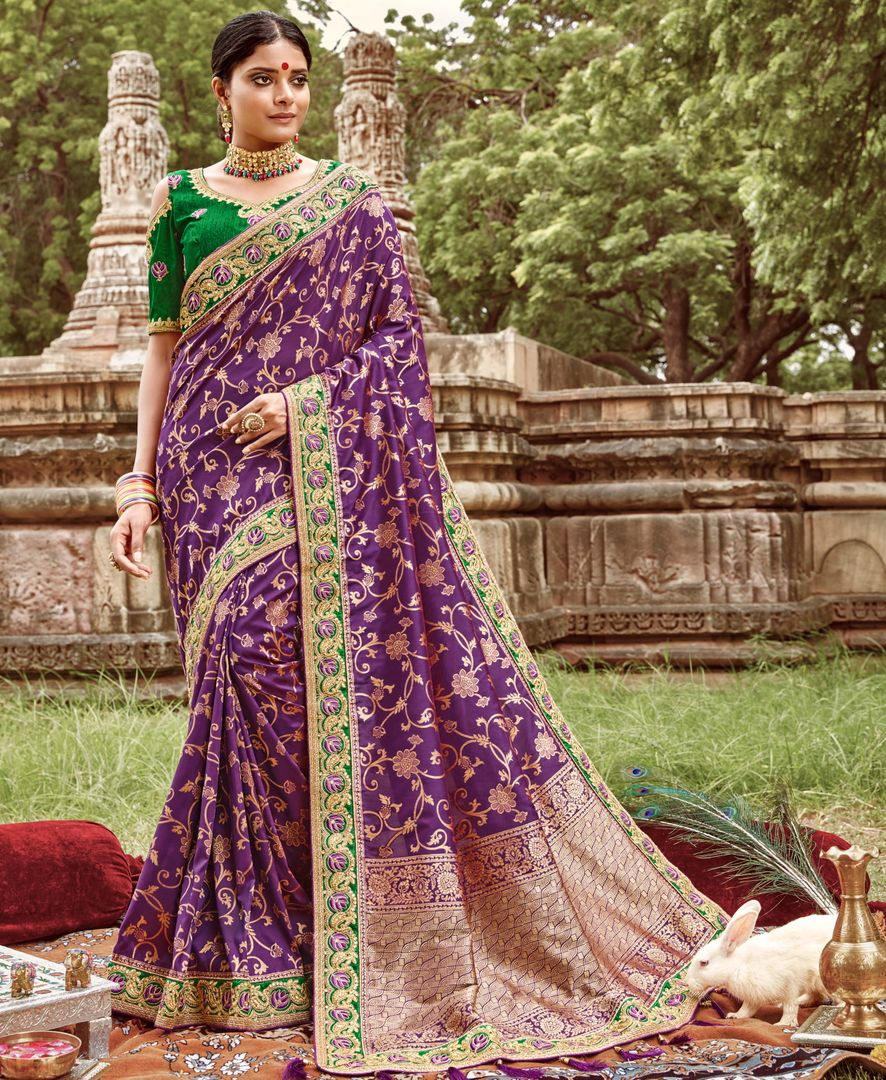 Purple Color Silk Designer Bridal Wear Sarees NYF-4048 - YellowFashion.in