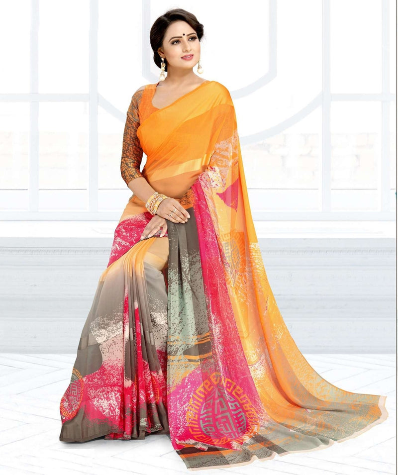 Orange, Pink & Grey Color Chiffon Kitty Party Sarees : Ramni Collection  NYF-1184 - YellowFashion.in