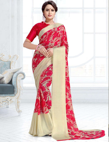 Pink & Off White Color Chiffon Kitty Party Sarees : Ramni Collection  NYF-1188
