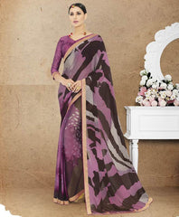 Purple & Brown Color Crepe Office Party Sarees : Preshit Collection  YF-52357