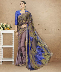 Lavender & Blue Color Crepe Office Party Sarees : Preshit Collection  YF-52358