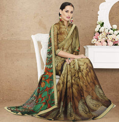 Shades Of Green Color Crepe Office Party Sarees : Preshit Collection  YF-52359