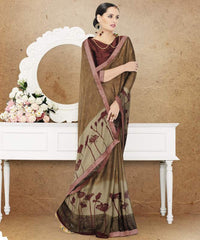 Brown Color Crepe Office Party Sarees : Preshit Collection  YF-52363