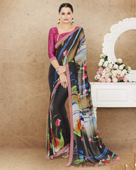 Multi Color Crepe Office Party Sarees : Preshit Collection  YF-52364