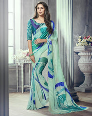 Sea Green Color Marble Brasso Function & Party Wear Sarees : Tirth Collection  YF-52367