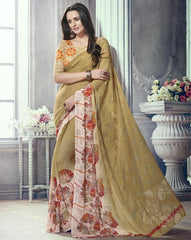 Mehendi Green Color Marble Brasso Function & Party Wear Sarees : Tirth Collection  YF-52369