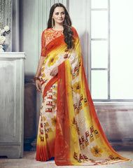 Cream, Yellow & Orange Color Marble Brasso Function & Party Wear Sarees : Tirth Collection  YF-52370