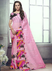 Pink Color Marble Brasso Function & Party Wear Sarees : Tirth Collection  YF-52372