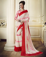 Cream & Red Color Georgette Office Party Sarees : Juliana Collection  YF-53020
