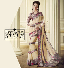 Cream Color Georgette Office Party Sarees : Juliana Collection  YF-53022