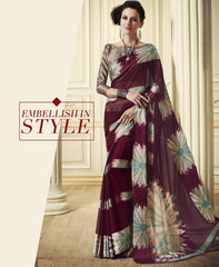 Burgandy Color Georgette Office Party Sarees : Juliana Collection  YF-53023