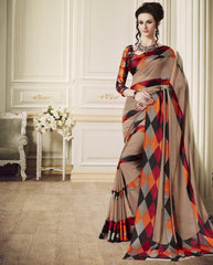Light Coffee Color Georgette Office Party Sarees : Juliana Collection  YF-53024