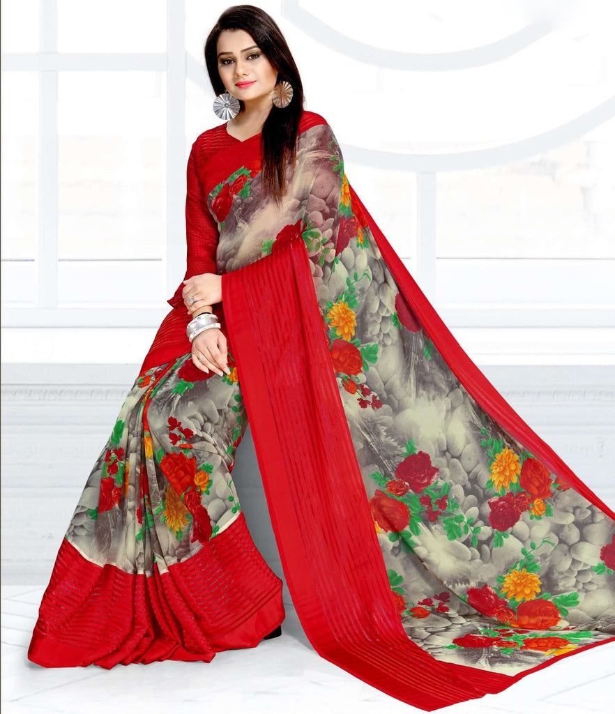 Red & Grey Color Chiffon Kitty Party Sarees : Ramni Collection  NYF-1201 - YellowFashion.in