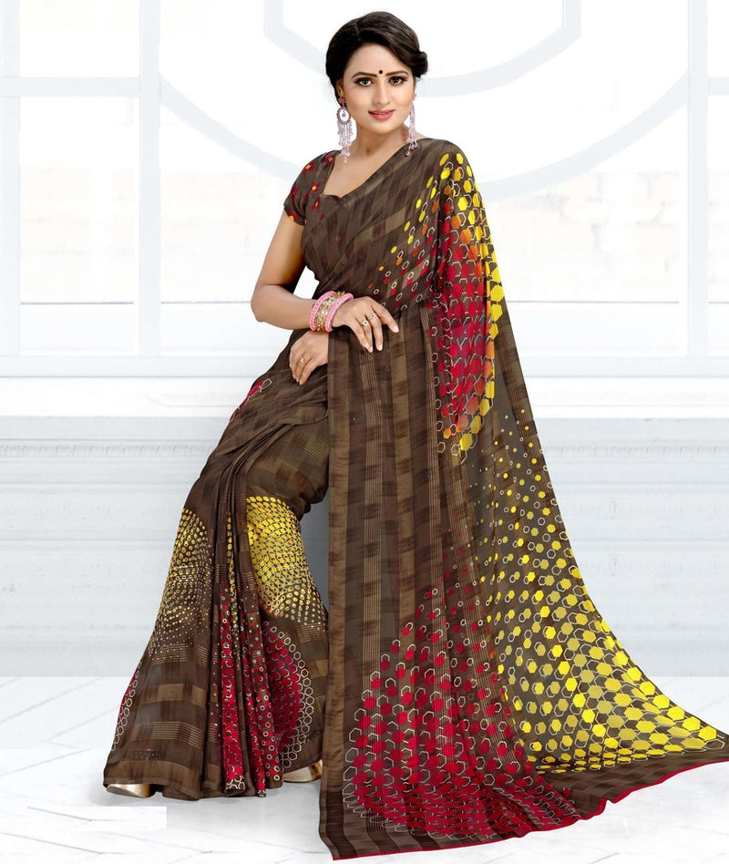 Brown Color Chiffon Kitty Party Sarees : Ramni Collection  NYF-1204 - YellowFashion.in