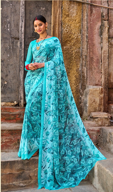 Sea Green  Color Georgette Casual Wear Saree -  Emily Collection  YF#11579